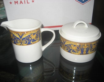 Valetta Blue Sugar Bowl and Creamer Set