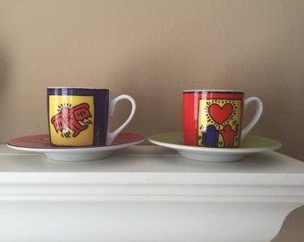Keith Haring Vintage Espresso Cup and Saucer - Set of 2