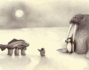 "Walrus and Penguins ""Rescue at the other side of the world""...Fine Art print from an original ballpen drawing"
