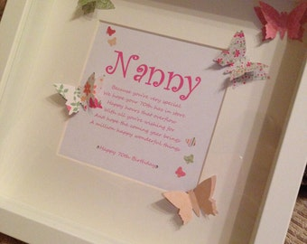 Personalised Nanny/Nan/Grandma/Mom/Mum/Mommy/Mother Frame Ideal for Birthdays 40th 50th 60th 70th 80th