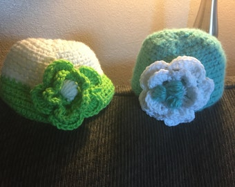 Baby Girl Crocheted Hat with Flower