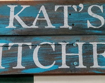 Personalized sign made from reclaimed wood. You can choose size and color. A must have addition to any home decor