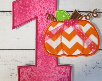 Ready To Ship in 3-5 Business Days Pumpkin Birthday Number One - Iron On or Sew On Embroidered Applique