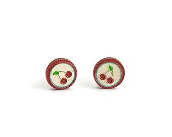 Cherry stud earrings, wood stud earrings, cherry earring, cherry jewelry, fruit earring, fruit jewelry, painted cherry earring, cherry studs