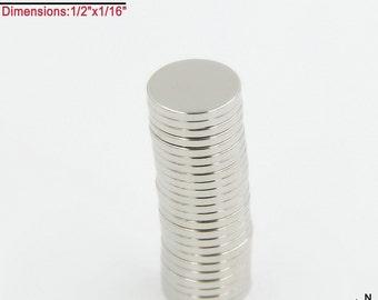 "100-Ct (Free Shipping) 1/2""x1/16"" Rare Earth Neodymium N45 Strong Disc Magnets (Fridge, Scrabble Tile, Bottle Cap)"