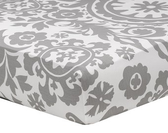 Gray Suzani Crib Sheet