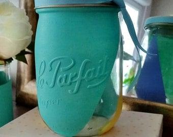 "Vase ""The perfect"" blue satin yellow Lavender Provence #leparfait #masonjar #mariage"