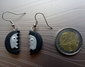 Earrings ghost Pac - Man for discreet geek