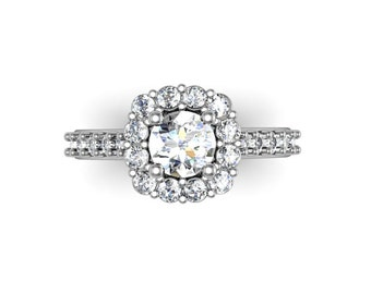 Round Diamond Halo Ring, Cushion shape halo, Round Halo Engagement Ring, Vintage Style Flower Ring, Diamond Halo, Solid Gold Ring