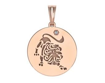 Leo Necklace, Zodiac Jewelry, Zodiac Necklace, Gold Necklace, Rose Gold Jewelry, white gold necklace, Solid Gold Zodiac Necklace