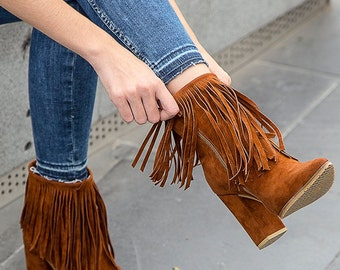 Tan Fringe High Heel Booties, Pointy Women Booties, Boots, Ankle Boots