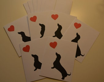 Set of 6 handmade (A2) blank note cards, featuring dachshund. Comes with envelopes.