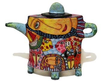 Ceramic teapot, teapot with decor, painted teapot, teapot a decorated, Pottery teapot, Handmade Ceramic Kettle, Ceramics and pottery Tea Set
