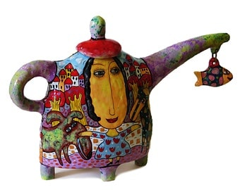 Kettle with fish, Ceramic teapot, painted teapot, teapot a decorated, Pottery teapot, Handmade Ceramic Kettle, Ceramics and pottery Tea Set