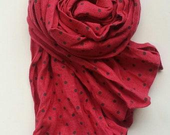 Linen Girls Scarf Polka Dots Scarf Linen Kids scarf Pink Summer scarf Handmade Crinkled Scarf Kids Fashion Accesories