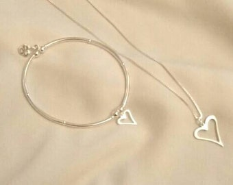 Sterling Silver matching Bracelet & Chain Set