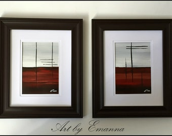 Original Paintings, Framed Abstract painting, Set of 2 Acrylic painting, contemporary Art, Ready to Hang