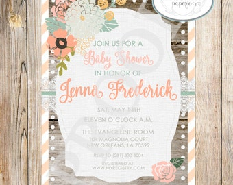 Country Chic Baby Shower Invitation