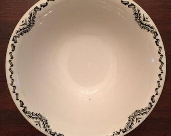 "Vintage Mayer China Dalton Pattern #83688 with Black Geometric Border Restaurant Ware 8"" Serving Bowl"
