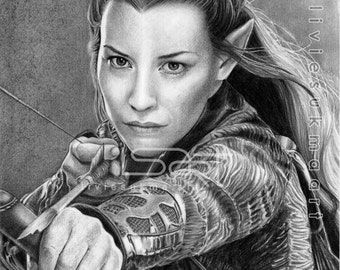 ORIGINAL artwork of Tauriel by pencil