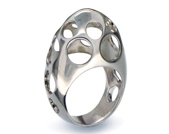EGG BUBBLES Geometric Ring, Silver Statement Ring, Edgy Silver Ring, Modern Ring, Art Jewelry, Chunky Ring, Huge Ring