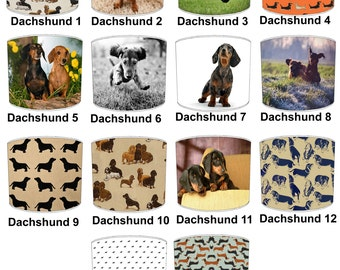 Dachshund Puppy Dog Lamp shades, To Fit Either a Table Lamp base or a Ceiling Light Fitting.