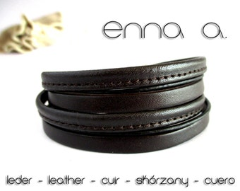 Brown leather bracelet double N 31