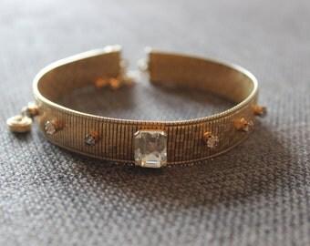 Vintage Jeweled Gold Tone Choker