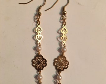 Gold Colored Flower Dangle Earrings