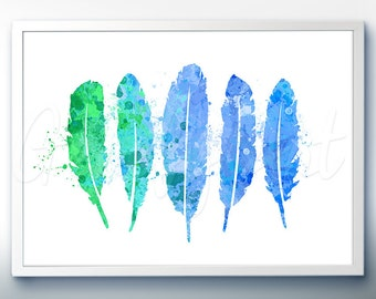 Feathers Art Watercolor Art Print  - Watercolor Painting - Feather Watercolor Art Painting  - Home Decor - House Warming Gift [6]