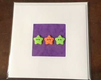 Blank Hand-Made Card - 'Stars' - Greeting Card, Birthday Card
