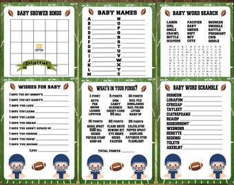 ALL 6 Games! Football Baby Shower Game, Football Baby Shower, Sports Baby Shower Game, Football Baby Shower Game Bundle