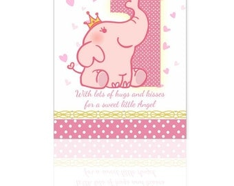 1st Birthday Card,  Pink Elephant Card, Babys 1st Card- A cute little card sure to bring a smile, with nice verse