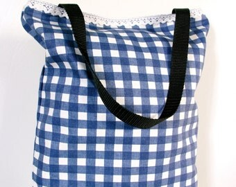 Tote Bag, Blue Gingham, Beach Bag, Shopping Bag, Blue and White Check 100% Cotton 1950s Vintage Bag
