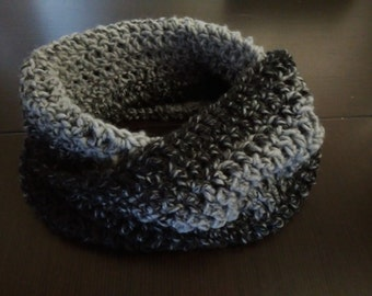 New handmade crochet cowl ombre gray and black