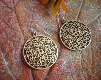 Mandala Filigree Gold Style Earrings.