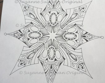 Snowflake Coloring Page Adult Book Stress Relief