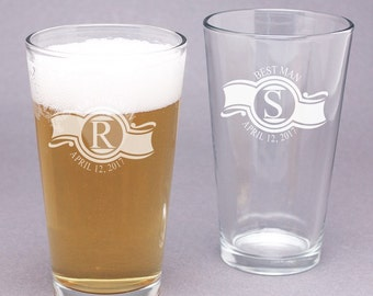 2 pcs Engraved Classy Collar Groomsmen's Gifts Pint Glasses (PPD-PCLCPG62)