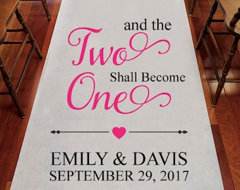 Two Shall Become One Aisle Runner - Personalized Wedding Aisle Runner - Plain White Aisle Runner (jm30045)