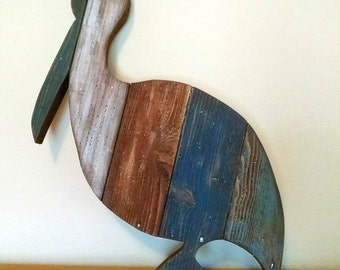 Pelican Hand-Painted Reclaimed Wooden Sign