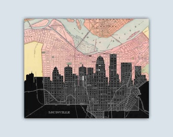 Louisville  Skyline, Louisville Wall Art, Louisville Poster, Personalized Skyline Print, Wedding Gift, Louisville Map, Louisville Art Print
