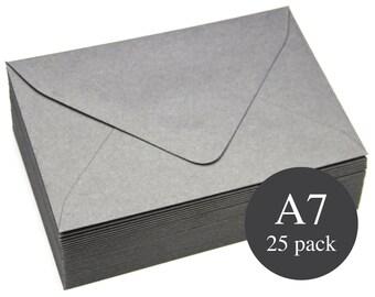 25 - A7 Gray Euro Flap Envelopes - 5 1/4 x 7 1/4 - Matte - Cobblestone Gray
