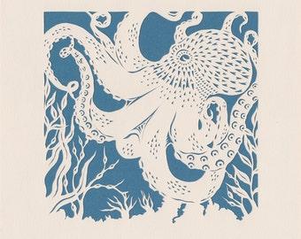 Octopus papercut. 'Small Common Octopus'  (teal blue). Print from an original handmade papercut.