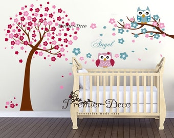 Large  Cherry Blossom Tree , Cute Owls Angel Wording Nursery baby Kids Wall Decal , removable wall sticker Decor