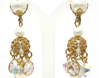 Vintage Gold Filigree Cotton Pearl And Crystals Dangling Earrings