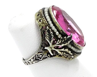 Gorgeous Art Deco Sterling Faux Seed Pearl Ring With Pink Stone