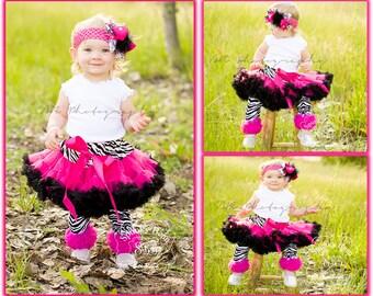 Hot Pink Black & Zebra Print FULL Premium Pettiskirt, Petticoat, ruffle baby skirt, baby girl tutu, fancy posh girls toddler petti skirt