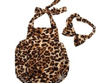 Leopard Bubble Romper and Headband