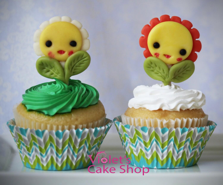 Edible Fondant 3D Flower Cupcake Toppers Fondant Cupcake