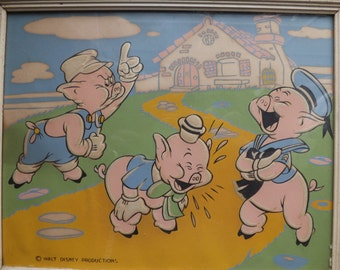 Three  little   pigs picture   from   walt  Disney  from   the  50's  -   60's